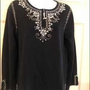 Quicker Factor New embellished sweater Sz S black